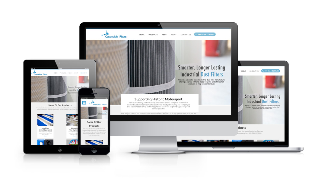 Stafford Based Responsive Web Design and Development For Cavendish Filters LTD Leicester