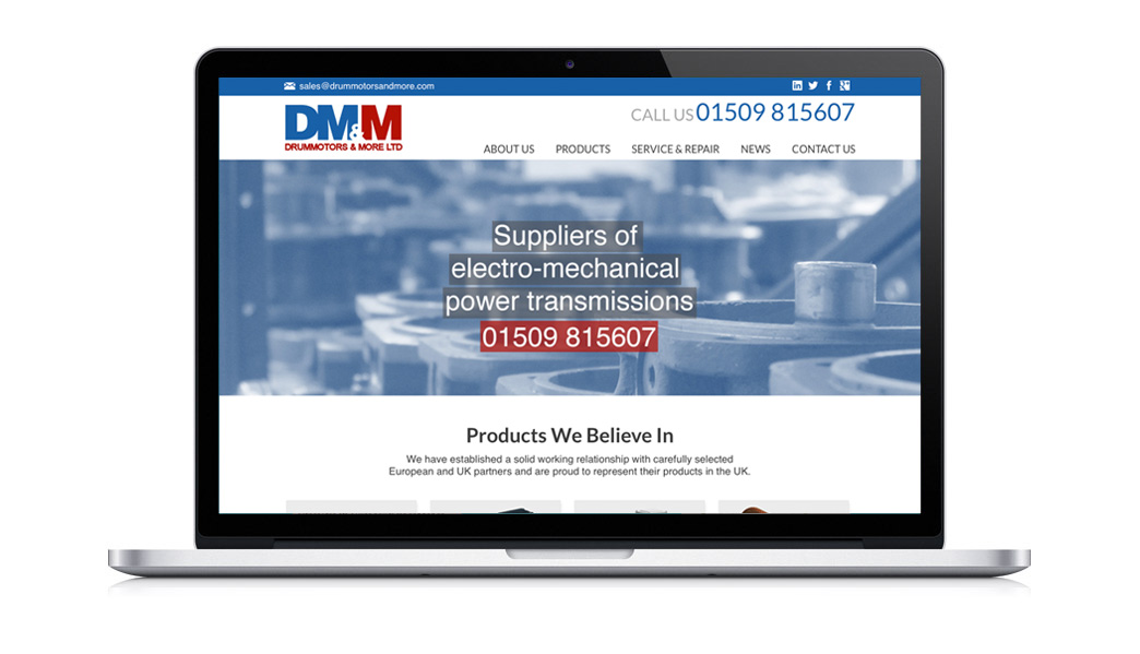 Web Design in Stafford of the Drum Motors Loughborough Website